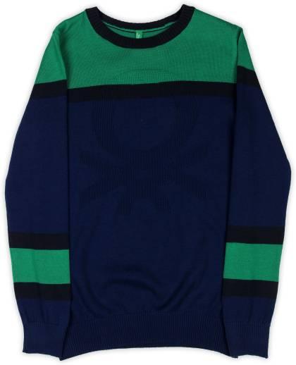 64a842b06c03 Allen Solly Junior Self Design V-neck Casual Boys Dark Blue Sweater ...