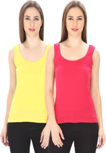 Friskers Casual Sleeveless Solid Women Multicolor Top