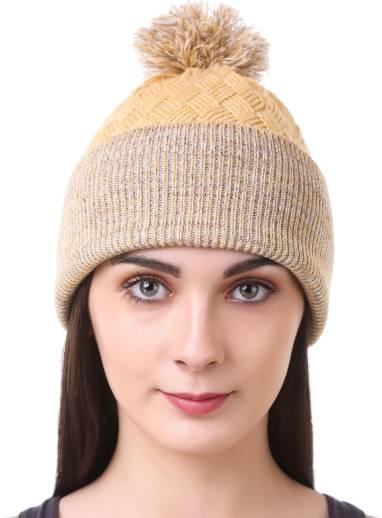 6ac86a53108 FabSeasons Self Design Acrylic Woolen Winter skull cap with faux fur ...
