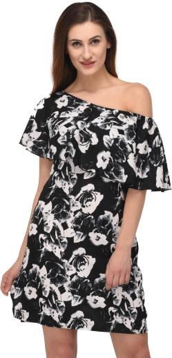 triraj Women A line Black Dress