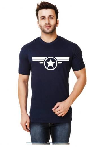 Elepants Graphic Print Men Round Neck Dark Blue T Shirt