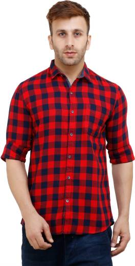 7bbe72974b1d FabTag - Mesh Men s Checkered Casual Red Shirt - Buy RED1 FabTag ...