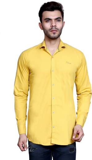 0b277eda1e91 FabTag - Mesh Men s Checkered Casual Yellow Shirt - Buy YELLOW 1 ...