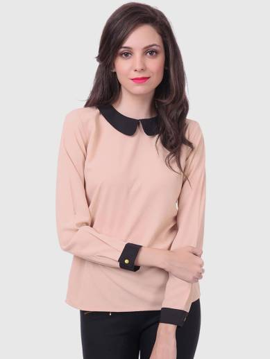 SASSAFRAS Casual Full Sleeve Solid Women Beige Top
