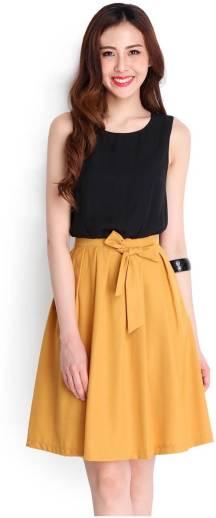 39b8d1122d2 Crease & Clips Women Peplum Yellow Dress - Buy MUSTARD Crease ...