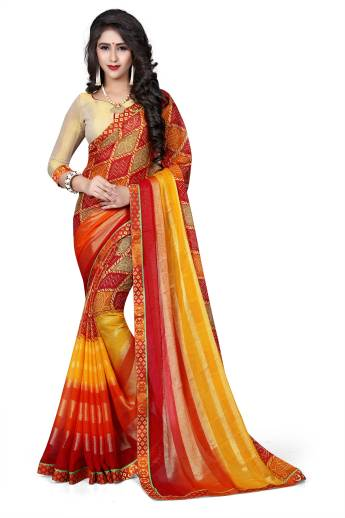 Oomph!Printed Bollywood Poly Georgette Saree Red