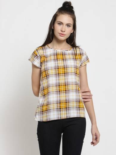 Casual Cap Sleeve Checkered Women Multicolor Top