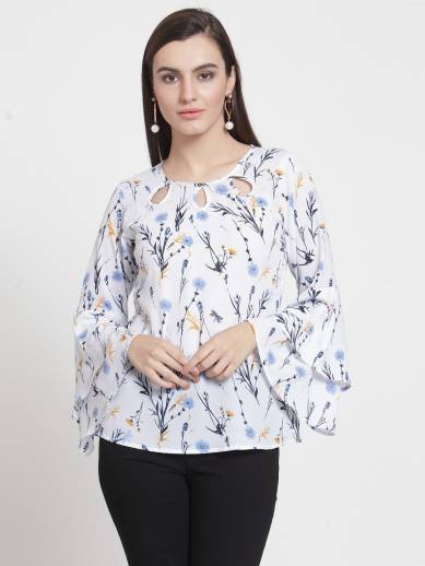 4c1083697b3 Taanz Casual Bell Sleeve Printed Women White Top - Buy Taanz Casual ...