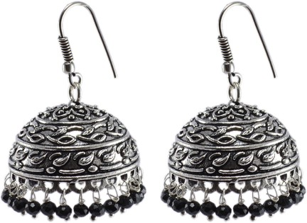 Silvesto India Jaipur Traditional Oxidized Silver Beautiful Color Fashion Handmade Drop Earring And Round Jhumki With Small Green Crystals PG-112485