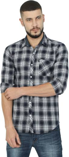 17b64b8652c1 FabTag - Mesh Men Checkered Casual Orange Shirt - Buy Orange FabTag ...