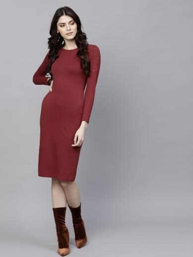 Sassafras Women Sheath Maroon Dress