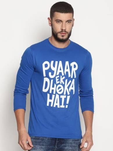 3e8c85486 Courage USA Printed, Typography Men Round Neck Blue T-Shirt - Buy ...