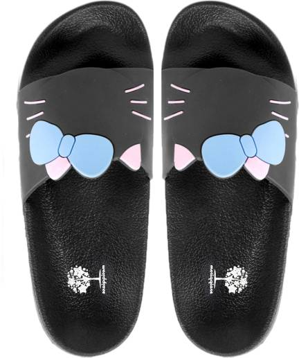 696a2a3909d Meriggiare. Synthetic Kitty Bow Benassi Solarsoft Slides  Beach Slippers   ...