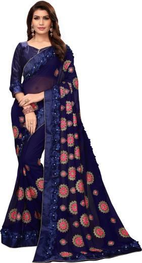 de2b30da6bd2b Buy Pratham Blue Embellished Bollywood Georgette Red Sarees Online ...