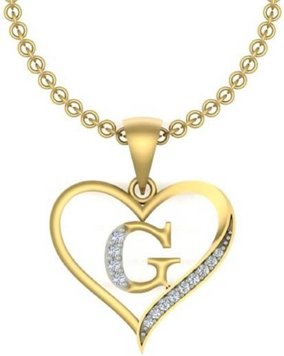 Kanak Jewels Letter G Heart Shaped Brass Cubic Zirconia Silver
