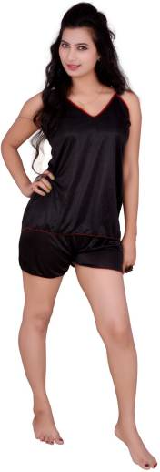 7552b3c3ba Clovia Set of 2 Pc Satin Nightwear Women Solid Maroon Top & Shorts ...