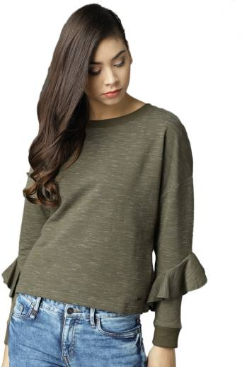 Roadster Full Sleeve Self Design Women Sweatshirt
