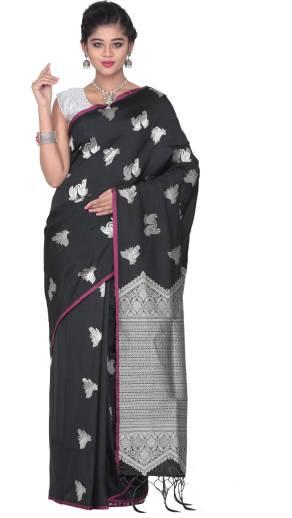 ccda0caa1f Buy KEYA SETH EXCLUSIVE Solid Fashion Pure Silk Black Sarees Online ...