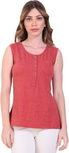 Crease   Clips Party Sleeveless Self Design Women Red Top