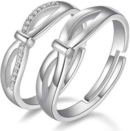 76984c7919 BlueShine. Criss Cross adjustable Valentine Couple Ring Set for your loved  ...