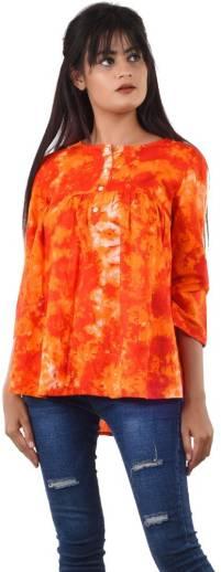 Casual 3/4 Sleeve Printed Women Multicolor Top
