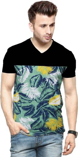 Veirdo Printed Men\'s V neck Multicolor T Shirt