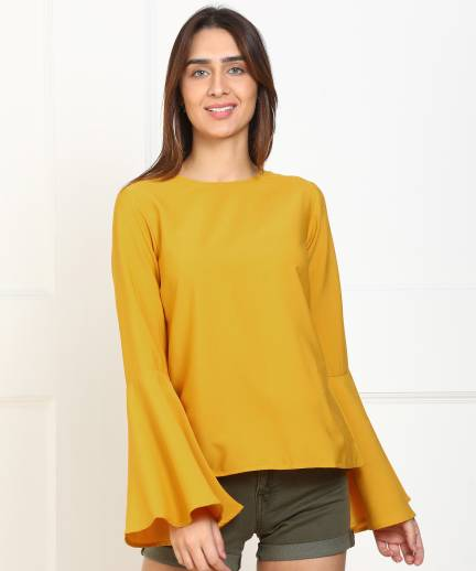 Casual Bell Sleeve Solid Women Yellow Top