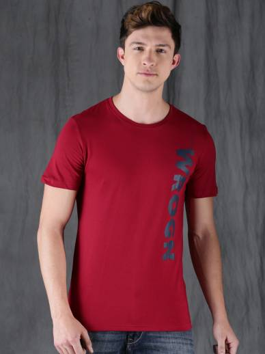 Wrogn Solid Men Round Neck Maroon T Shirt