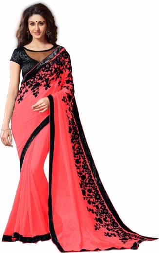 c87e0c7e04f84e Buy RadadiyaTRD Embroidered Fashion Poly Georgette Red Sarees Online ...