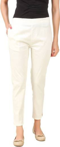 Q Rious Regular Fit Women Cream Cotton Blend Trousers