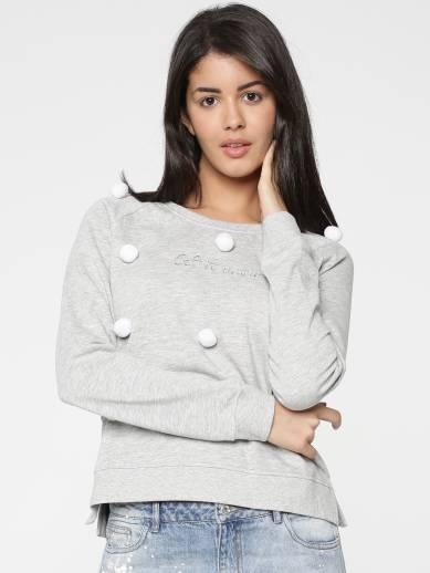 Only Full Sleeve Self Design Women Sweatshirt