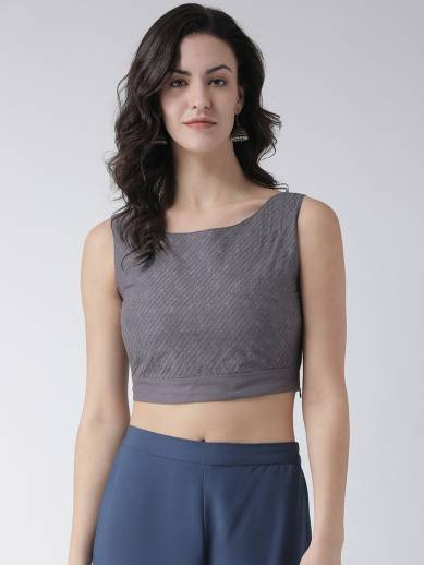 Span Casual Sleeveless Printed Women Grey Top