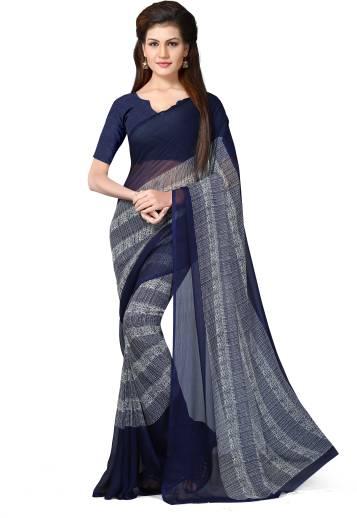 LivieSelf Design Bollywood Chiffon Saree Blue
