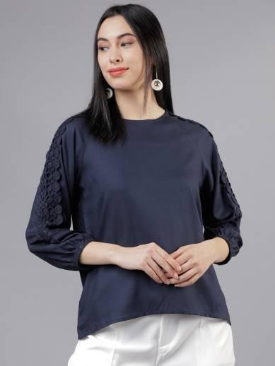 TOKYO TALKIESCasual 3/4 Sleeve Solid Women Blue Top