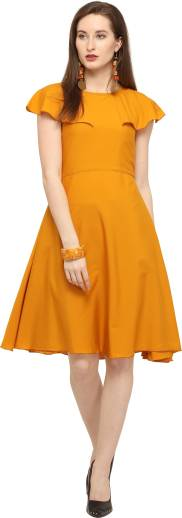 Sheetal Associates Women A line Yellow Dress