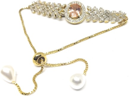 Bracelet Indian Gold Plated Ad Cz Jade Gemstones Jewelry 6824