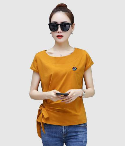 INK FREE FASHION Casual Short Sleeve Solid Women Yellow Top