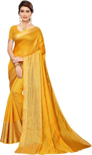YashikaSelf Design Fashion Cotton Silk Saree Yellow