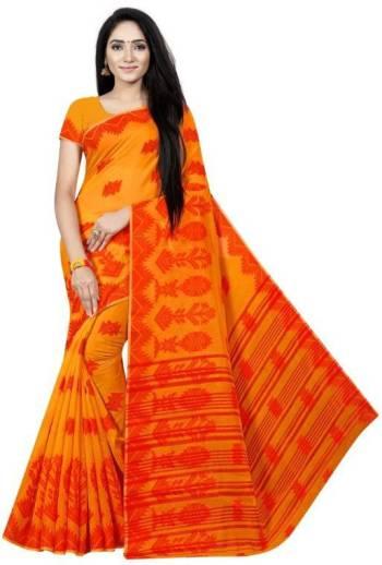 HAPPYSHOPPY Floral Print Gadwal Cotton Silk Saree Orange