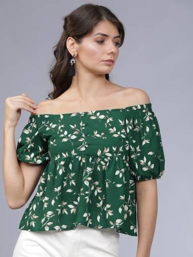 TOKYO TALKIES Casual Short Sleeve Printed Women Green Top