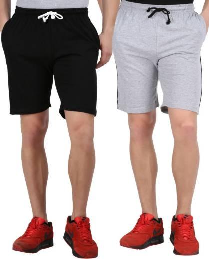 Tik Tok WEARSSolid Men Black, Grey Basic Shorts