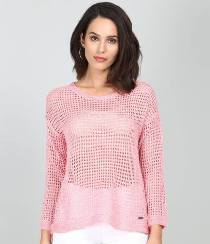 Flying Machine Casual Full Sleeve Lace Women Pink Top