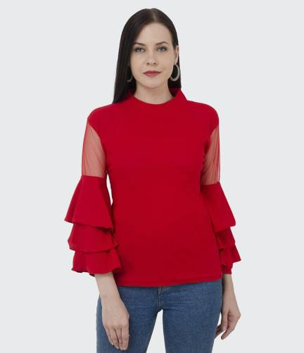 BuyNewTrend Casual Full Sleeve Solid Women Red Top