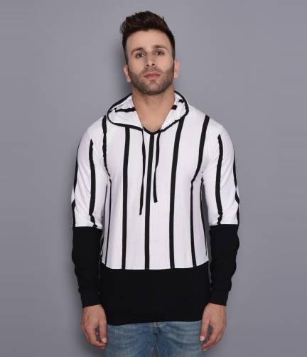 KatsoStriped Men Hooded Neck Black, White T Shirt