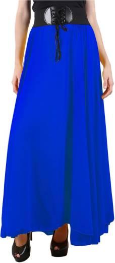 Raabta Fashion Solid Women Regular Blue Skirt