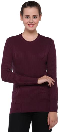 2ca7f18830 United Colors of Benetton Solid V-neck Casual Women s Maroon Sweater ...