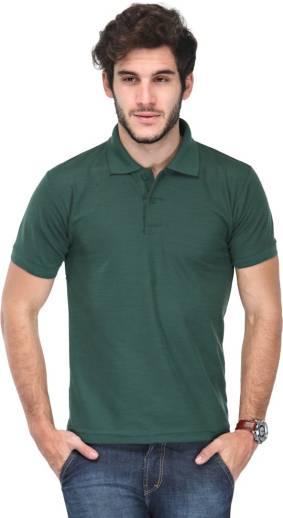 TSXSolid Men Polo Neck Green T Shirt