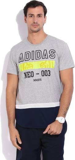 d45593b5 ADIDAS NEO Printed Men's Round Neck Grey T-Shirt - Buy MGREYH/BLACK ...