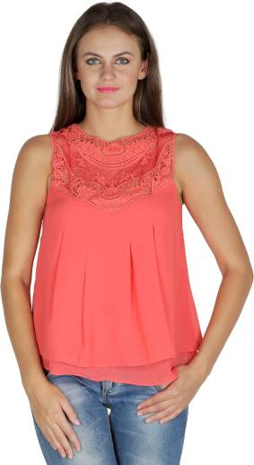 f0561cb2c2430a Payless Casual Sleeveless Solid Women s Blue Top - Buy Blue Payless ...