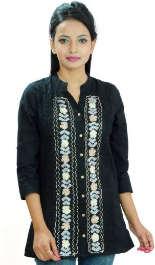 Goodwill ImpexCasual 3/4 Sleeve Embroidered Women Black Top
